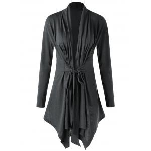 Shawl Collar Draped Asymmetrical Cardigan - Deep Gray - M