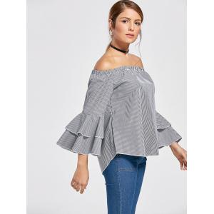 Off The Shoulder Flare Sleeve Flounce Plaid Top - COLORMIX S