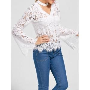 Bell Sleeve Choker Neck Lace Blouse