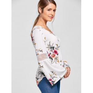 Floral Flare Sleeve Blouse - WHITE M