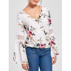 Floral Flare Sleeve Blouse - White - Xl