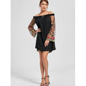 Flare Sleeve Off The Shoulder Broderie Robe - Noir 2XL