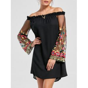 Flare Sleeve Off The Shoulder Embroidery Dress - Black - 2xl