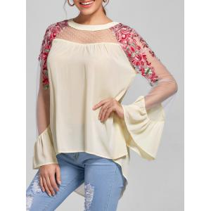 Embroidery Flare Sleeve High Low Blouse - Light Beige - 2xl