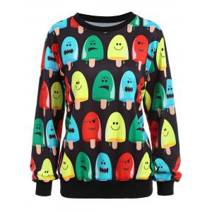 Popsicle Print Round Neck Sweatshirt