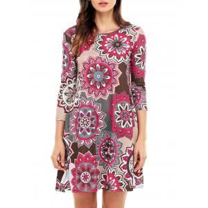 Ethnic Flare Floral Print Dress - Brown - Xl