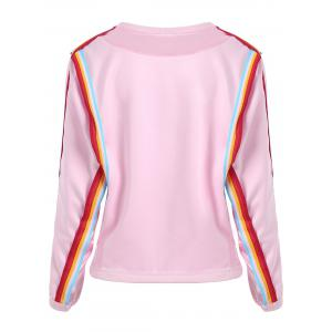 Striped Panel Long Sleeve Sweatshirt - PINK ONE SIZE