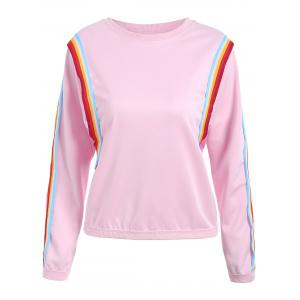 Striped Panel Long Sleeve Sweatshirt - Pink - One Size