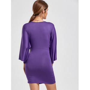 Deep V Neck Ruched Bodycon Dress -