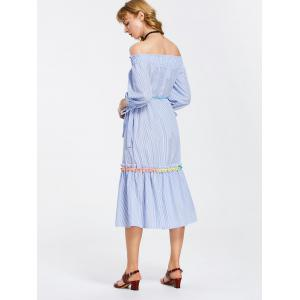 Off Shoulder Stripes Bow Sleeve Midi Dress - STRIPE L