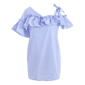 Cami Striped Flounce Ruffles Cold Shoulder Dress -