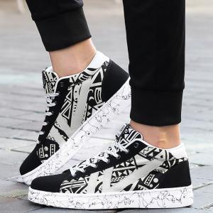 Geometric Pattern Tie Up Casual Shoes -