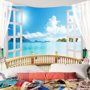 Window Seascape Waterproof Wall Tapestry -