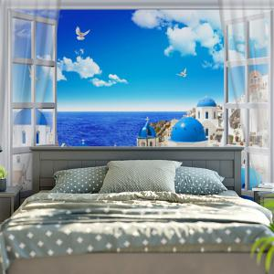 Wall Hanging Seaside Castle Print Tapestry -