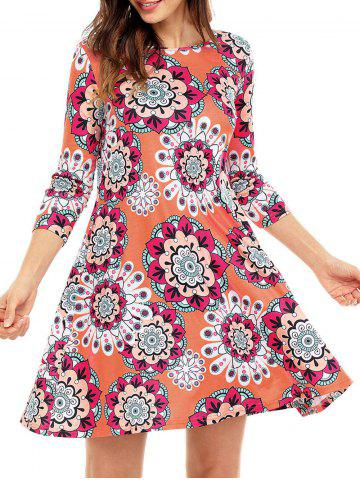 Outfits Ethnic Flare Floral Print Dress - S ORANGE Mobile