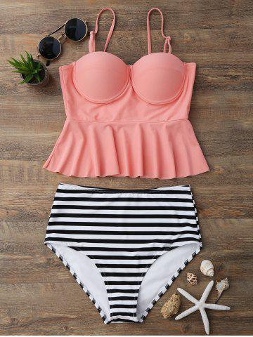 Fashion High Waisted Striped Flounce Peplum Tankini
