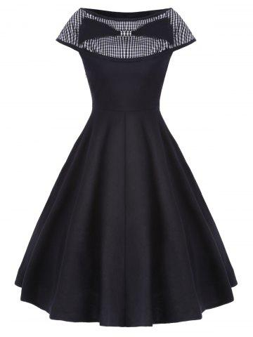Chic Boat Neck Vintage Dress - S BLACK Mobile