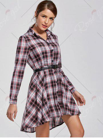 Fashion Checked Shirt Dress - XL COLORMIX Mobile