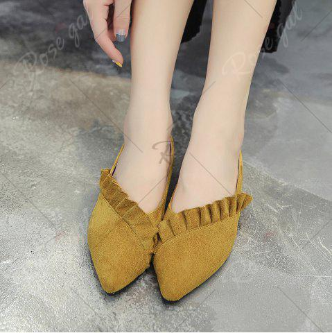 Discount Flounce Faux Suede Point Toe Flats - 38 YELLOW Mobile