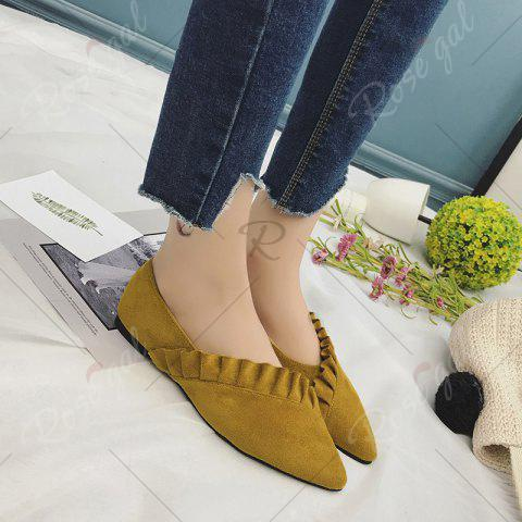 Chic Flounce Faux Suede Point Toe Flats - 38 YELLOW Mobile