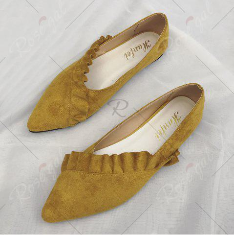 Outfits Flounce Faux Suede Point Toe Flats - 38 YELLOW Mobile