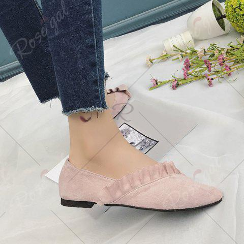Trendy Flounce Faux Suede Point Toe Flats - 39 PINK Mobile