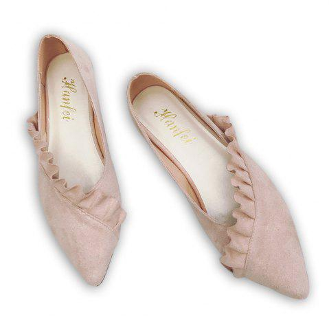 Discount Flounce Faux Suede Point Toe Flats - 39 PINK Mobile