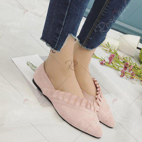 Trendy Flounce Faux Suede Point Toe Flats - 37 PINK Mobile