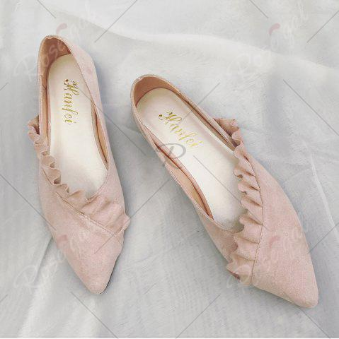 Online Flounce Faux Suede Point Toe Flats - 37 PINK Mobile