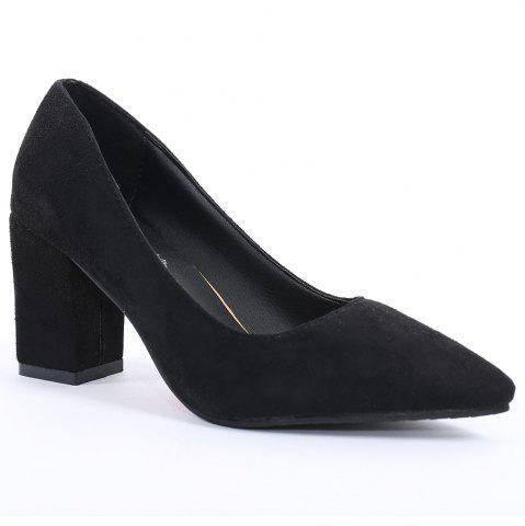 Outfit Pointy Block Heel Pumps BLACK 41