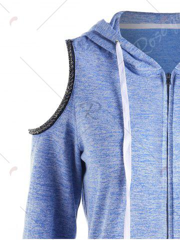 Outfit Zip Up Open Shoulder Hoodie - M LIGHT BLUE Mobile