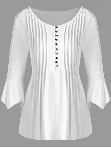 Half Button Lace Trim Pleated Blouse - White - 2xl
