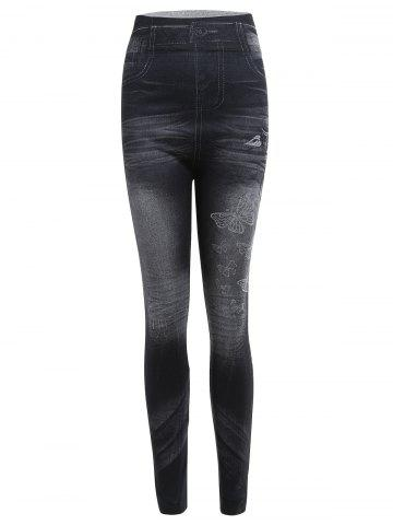Fashion Casual Skinny Mid-Waisted Butterfly Women's Jean Leggings - ONE SIZE BLACK Mobile