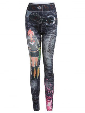 Printed Stretchy Jean Legging