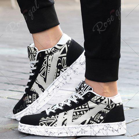 Outfit Geometric Pattern Tie Up Casual Shoes - 40 BLACK WHITE Mobile