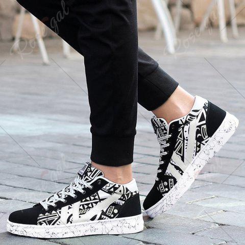 Buy Geometric Pattern Tie Up Casual Shoes - 40 BLACK WHITE Mobile