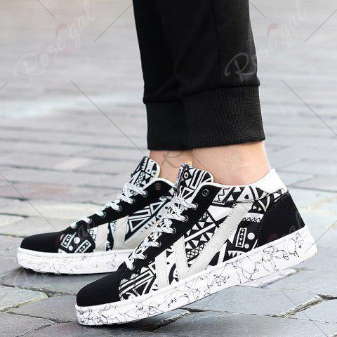 Trendy Geometric Pattern Tie Up Casual Shoes - 40 BLACK WHITE Mobile