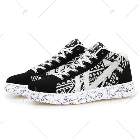 Fashion Geometric Pattern Tie Up Casual Shoes - 40 BLACK WHITE Mobile