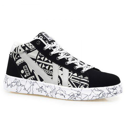 Cheap Geometric Pattern Tie Up Casual Shoes - 40 BLACK WHITE Mobile