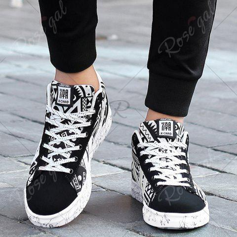Online Geometric Pattern Tie Up Casual Shoes - 40 BLACK WHITE Mobile
