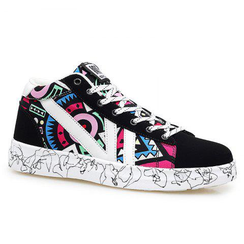 Geometric Pattern Tie Up Casual Shoes - Black And Red - 40