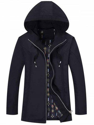 Zip Up Drawstring Hood Casual Jacket - Purplish Blue - Xl