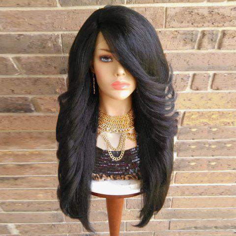 Affordable Long Inclined Bang Shaggy Yaki Straight Synthetic Wig - BLACK  Mobile