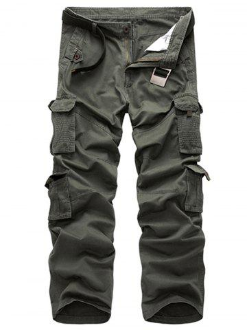 Outfits Multi Pockets Zipper Fly Straight Leg Cargo Pants - 38 ARMY GREEN Mobile