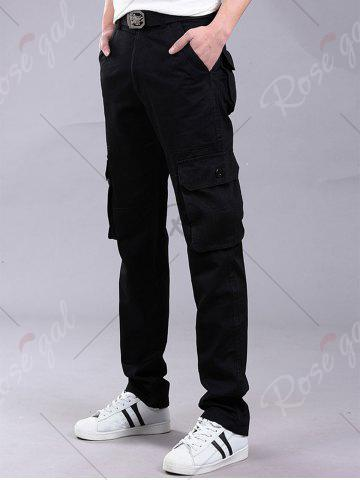 Outfit Pockets Zipper Fly Straight Leg Cargo Pants - 32 BLACK Mobile