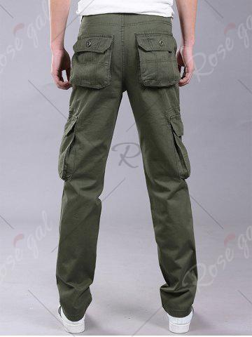 New Pockets Zipper Fly Straight Leg Cargo Pants - 38 ARMY GREEN Mobile