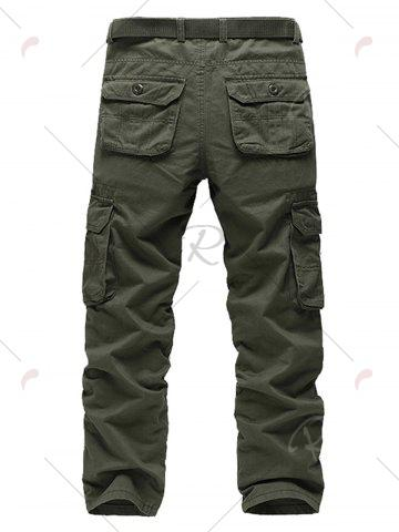 Hot Pockets Zipper Fly Straight Leg Cargo Pants - 38 ARMY GREEN Mobile