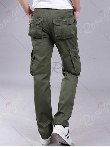 Affordable Pockets Zipper Fly Straight Leg Cargo Pants - 38 ARMY GREEN Mobile