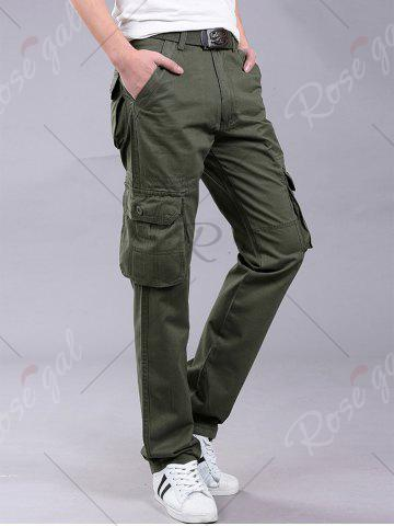 Discount Pockets Zipper Fly Straight Leg Cargo Pants - 38 ARMY GREEN Mobile
