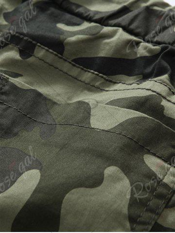 Store Camouflage Drawstring Beam Feet Jogger Pants - 38 ARMY GREEN CAMOUFLAGE Mobile